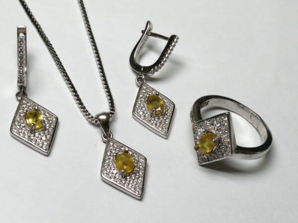 نیم ست جواهری یاقوت زرد اصل