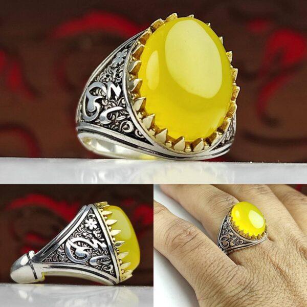 انگشتر عقیق زرد شرف شمس