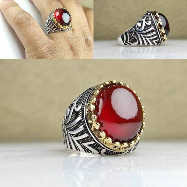 انگشتر ياقوت گارنت قرمز اصل