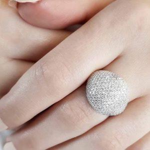 انگشتر زنانه سولیتر تمام نگین جواهری زیبا