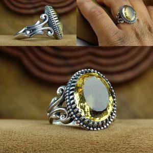 انگشتر سیترین طلایی