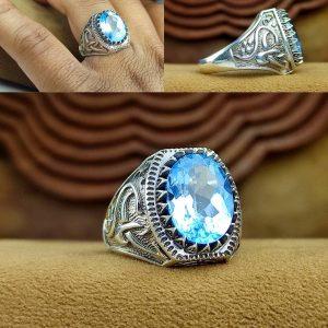 انگشتر توپاز آبی اصل