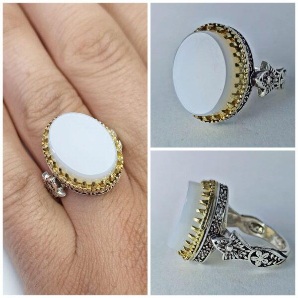 انگشتر عقیق سفید طبیعی